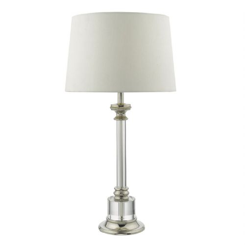 Krona Table Lamp Polished Nickel Clear complete with Shade (Class 2 Double Insulated)